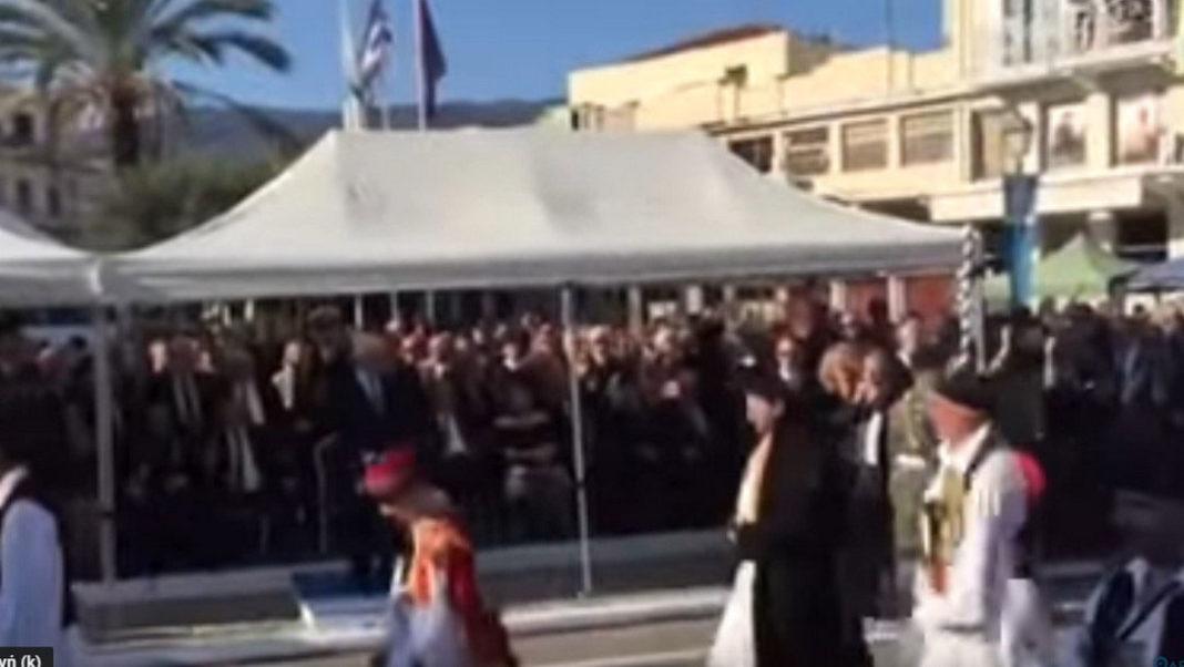 Παυλόπουλος 25ης Μαρτίου με το εμβατήριο «Μακεδονία Ξακουστή».