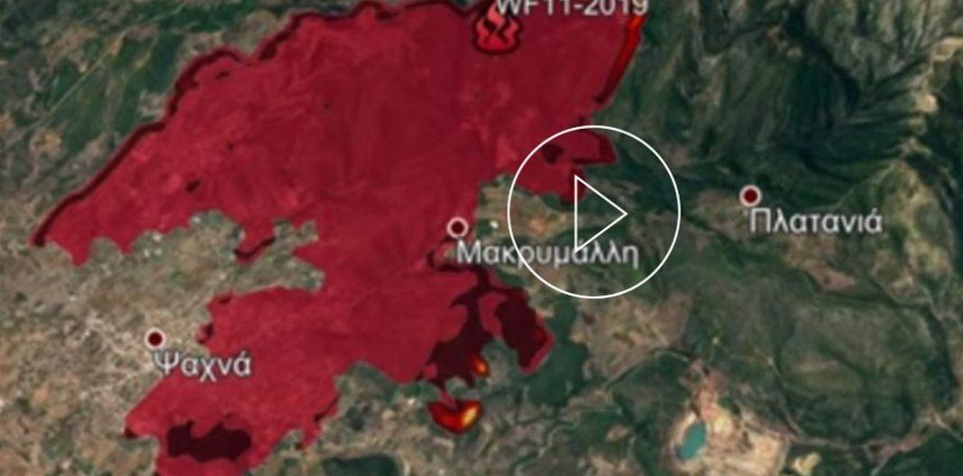 Το προγνωστικό σύστημα IRIS ενεργοποιήθηκε για να ενημερώσει τις Αρχές για το πύρινο μέτωπο της Εύβοιας.