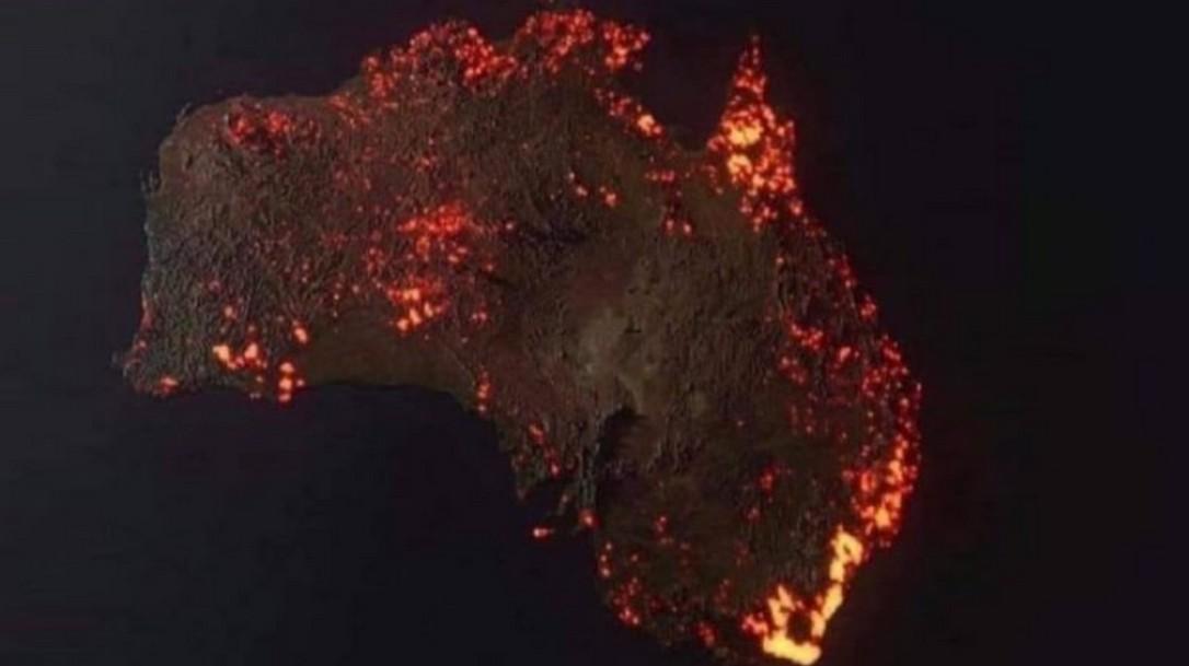 Εντυπωσιακή απεικόνιση γρήγορης σάρωσης με τον καπνό από τις πυρκαγιές στην Αυστραλία