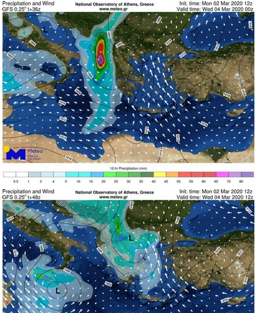 Στους χάρτες που ακολουθούν παρουσιάζεται ο ολικός υετός (βροχές/καταιγίδες)